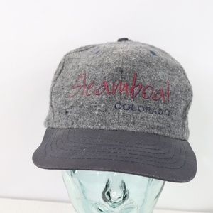 90s Steamboat Spring Colorado Strapback Hat Gray
